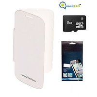 BrandPark  Flip Cover + Screen Protector + 8Gb Sandisk Memory Card For Samsung Galaxy S Duos S7562 - White