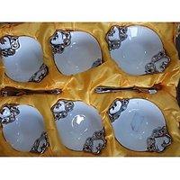 Bowl Set Of 12 Pcs Oval Shape(6 Pcs Bowl +6 Spoon)
