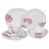 Corelle India Collection Pink Lotus 21 Pcs Dinner Set