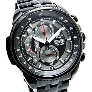 CASIO EDIFICE EF 558 BK BLACK PREMIUM CHRONOGRAPH MENS DAY DATE WRIST WATCH GIFT - 75690378