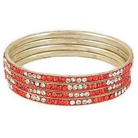 Set Of Red And White Stone Bangles (C1RJ0101CSRE2.8)