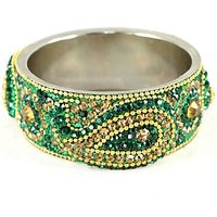 Dark Green Broad Kada With The Traditional Ambi Pattern Finished With Stones & Beads (K3RJ0101KSDG2.8)