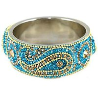 Dark Sky Blue Broad Kada With The Traditional Ambi Pattern Finished With Stones & Beads (K3RJ0101KSDSB2.6)