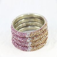 Set Of 4 Stylish And Pristine Kada Bangles In Silver Metal Finish With Lavender, White And Golden Stones (C12RJ01013L2SLA2.4)