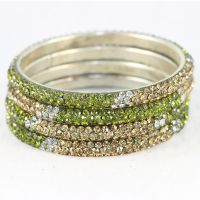 Set Of 4 Stylish And Pristine Kada Bangles In Silver Metal Finish With Olive Green, White And Golden Stones (C12RJ01013L2SOG2.4)