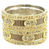 A Set Of Shimmering And Shining Silver-Golden Bangles And Kada (C13RJ0101KSGO2.4)