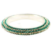 Pair Of Stunning Dark Green And Golden Bangles For The Traditional Touch (K16RJ01017LPPDG2.8)