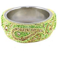 Green Broad Kada With The Traditional Ambi Pattern Finished With Stones & Beads (K3RJ0101KSGR2.8)