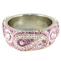 Lavender Broad Kada With The Traditional Ambi Pattern Finished With Stones & Beads (K3RJ0101KSLA2.6)