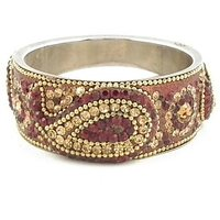 Mehroon Broad Kada With The Traditional Ambi Pattern Finished With Stones & Beads (K3RJ0101KSME2.6)