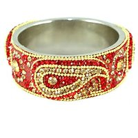 Orange Broad Kada With The Traditional Ambi Pattern Finished With Stones & Beads (K3RJ0101KSOR2.6)