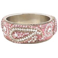 Pink Broad Kada With The Traditional Ambi Pattern Finished With Stones & Beads (K3RJ0101KSP2.8)