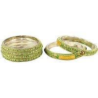 Gleaming Bangles & Kada Set In Green And Golden – Set Of 6 (C5RJ0101N10GR2.6)