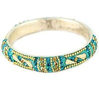 Traditional Dark Sky Blue Golden Bangles (K2RJ0101N8PDSB2.8)