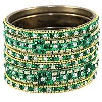 Shimmering Set Of Bangles In Dark Green And Golden (C6RJ0101PDG2.4)