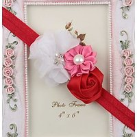 Multicolor Flowers Headband - Red White