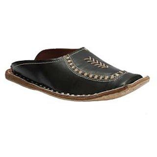 Stophere - Ultra Comfortable Men's Casual Shoe Style Jutis In Black - Back Open