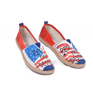 Women Loafers Shoes, Flag Print Slip On, Espadrilles Summer Sneakers.
