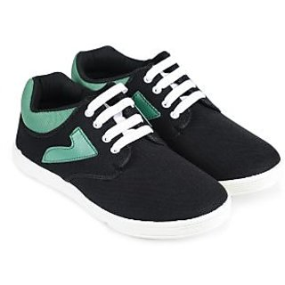 Vonc Black Base With Green Design Mens Canvas Shoes