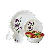 Ruchi Housewares Fiesta Set Of 18 Pcs Unbreakable Dinner Set- Violet Floral Prin