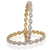 Heena Elegant Collection Ad Stones Brass Bangle Set