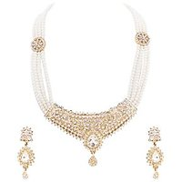 Neelam Antique Alloy Pearl Jewel Set (Gold & White)