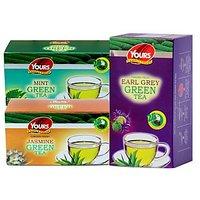 Green Tea Pack Of Three (Mint , Jasmine , Earl Gray) 25 X 3= 75 Tea Bags