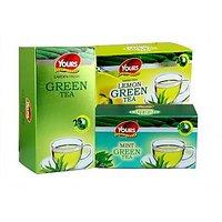 Green Tea (Plain+Lemon+Mint) Pack Of Three 25*3=75 Tea Bags