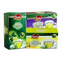 Green Tea (Tulsi + Lemon + Earl Gray) Pack Of Three 25 X 3 = 75 Tea Bags