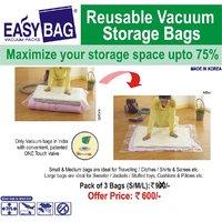 Vacuum Storage Space Bags - Set Of 3 Bags (Small/ Medium/ Large)