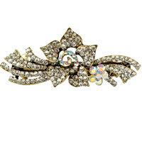 Antique Golden Silver Non Precious Stone Studded Designer Women Hair Clasp Clip