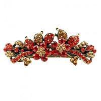 Antique Golden Red SemiNon Precious Stone Studded Designer Women Hair Clasp Clip