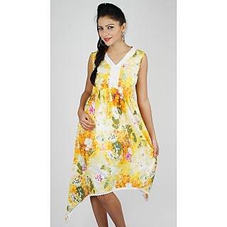 Eli Printed Asymmetric Dress With Laced Neckline