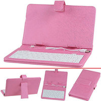 """7"""" Universal USB Keyboard Leather Case Cover For Android Tablet Pink"""