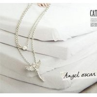 New Fashion Rinestone Flying Angel Wing Rhodium Finish Necklace For Women& Girls