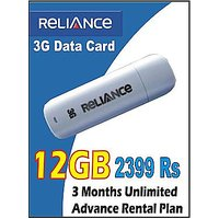 Reliance 3G Data Card With 3 Months Unlimited Data Plan