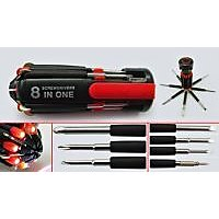 Set Of  Two 8 In 1 Multi Screwdriver Torch Screw Driver Tool Kit