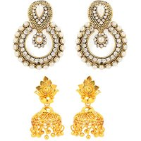 Antique White Beaded Hanging Earrings With Free Gold Plated Earrings By GoldNera