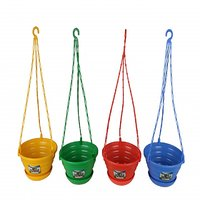 "Easy Gardening 8"" Decor Hanging Pots/Planters Red, Green, Yellow, Blue Color"