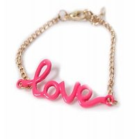 Elegant And Stylish LOVE Letter Bracelet Pink GLITZY BY ROOHIE
