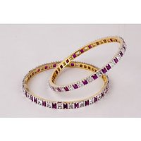 Jwells & More American Diamond Bangles With Multi Colored Stones