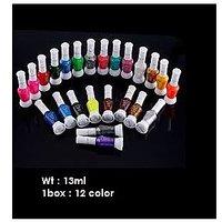 Set Of 12 Pc Two Way Shining Nail Art & Nail Polish Exclusive Color  1 Box= 12 C