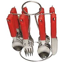 24 Pcs. Stainless Steel Cutlery Set With Plastic Handle + Stand