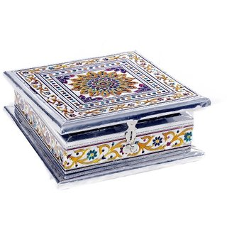 Lovely White Metal Meenakari Work White Metal Jewellery Box