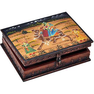 Sovam InternationalStylish Wooden Hand Painted Dhola Maru Jewellery Box