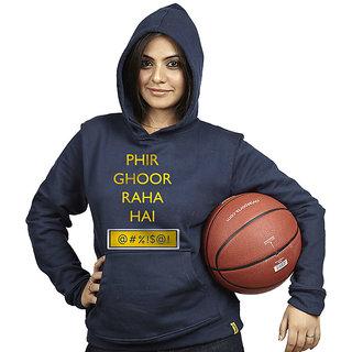 Campus Sutra Women's Blue Hooded Sweatshirt (Design 12)