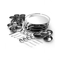 RBJ Stainless Steel Dinner Set Lunch Set Of 24 Pcs Silver Touch Mirror Finish