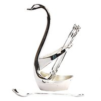 Sweet Swan Shape Spoon Set With Silver Finish
