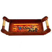 Handled Wooden Tray With Ambabari & Horse Design