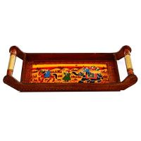 Handled Wooden Tray With Traditional Print